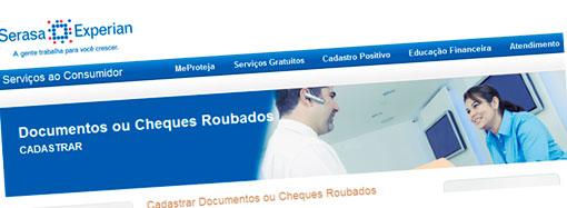 CADASTRO DE DOCUMENTOS OU CHEQUES ROUBADOS - SERASA EXPERIAN
